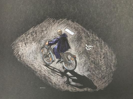Mehrzad Najand- technique mixte sur papier noir - En vélo -  2019