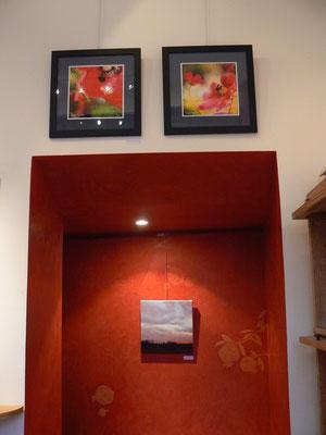 """peinture : """" couché de soleil """" : claude Francheteau / 2 photos """" rouge végétal : Pierre Emmanuel Charon"""