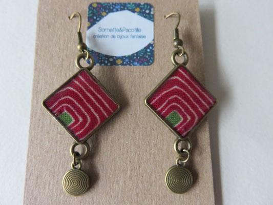 Sornette et Pacotille -Boucle en laiton finition bronze antique - cabochon carré  - breloque - tissus Africain et résine - édition limitée