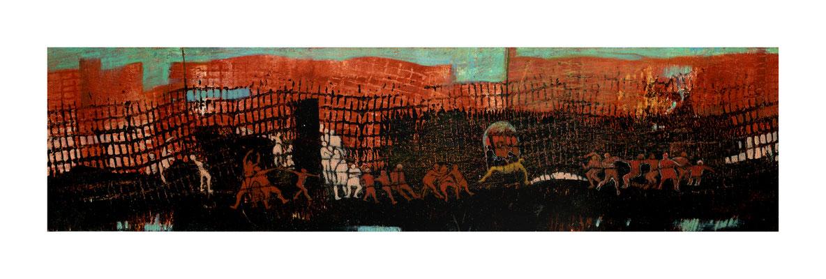 Soheila Niknam - Frontière  - acrylique sur carton de bois -  39x10cm - 2014