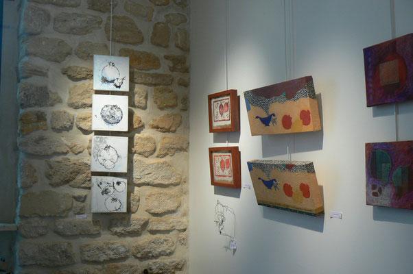 mur en pierre : monotypes marouflés sur toile de Nathalie d'Antin