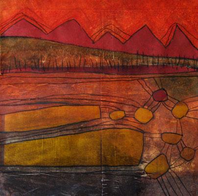 Agathe De Filippi - Crépuscule - 40x40cm - peinture acrylique sur papier marouflé sur toile, collage,pastels