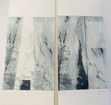 Marie Clémentine Marès- Dyptique - gravure aquatinte et eau forte .