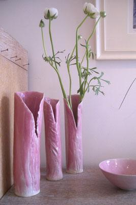Sophie Gallé Soas - vases roses - céramiques