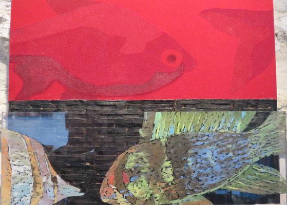 Maryam Sadet - Mer Rouge Terre Noire - métal , plexiglass, peinture , velours- 2017