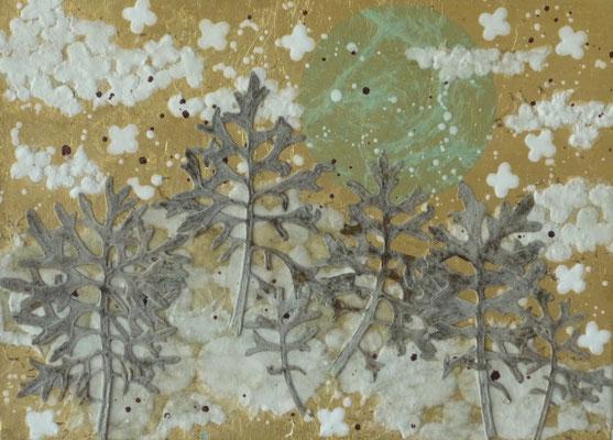 Alain Guillon - Petit voyage éthéré  n°24 -  16x22cm - Papier de soie - papier japonais - pigment colorés- végétaux séchés- poudre de marbre - feuille de cuivre dorée- vernis