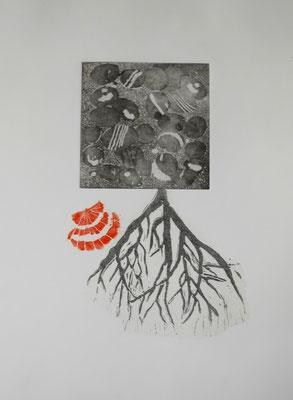 Christel Claudius - Terre Noire , technique mixte, collage - gravure et deux linogravure  sur papier 50x40cm
