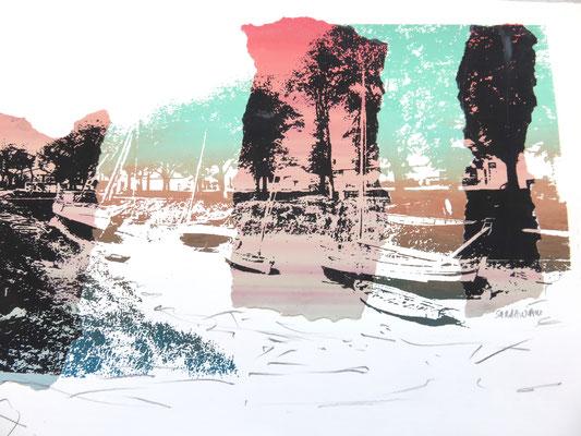 Sarah Wiame - Sérigraphie, collage Port de St Christoly de Médoc, 30X40cm, sérigraphie