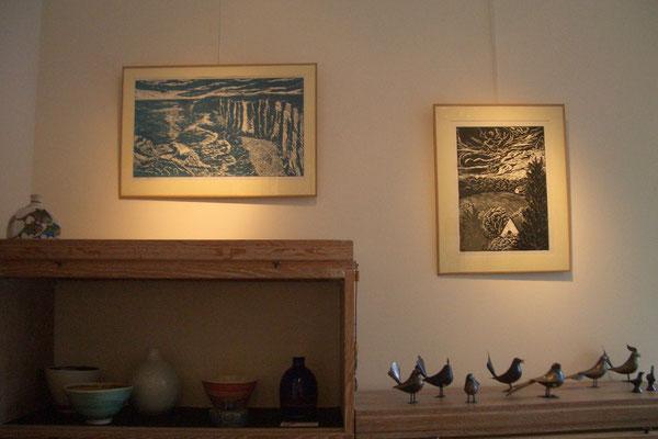 Michelle Boucard- linogravures - falaise, paysage