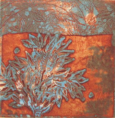 Isabelle Dansin- gravure - Arbre de vie bleu sur rouge - 15x15cm