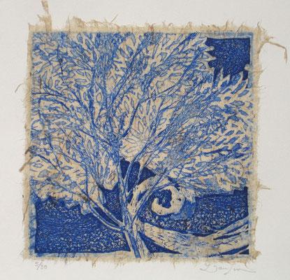 Isabelle Dansin- gravure - Arbre de vie bleu - 15x15cm