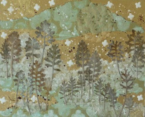 Alain Guillon - Petit voyage éthéré  n°21- 22x27cm -Papier de soie - papier japonais - pigment colorés- végétaux séchés- poudre de marbre - feuille de cuivre dorée- vernis