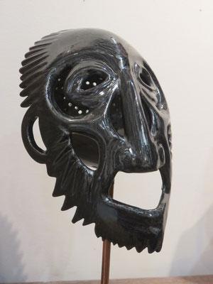 Marie-Anne Guillemain - figure noire 1  - Grès chamotté émaillé