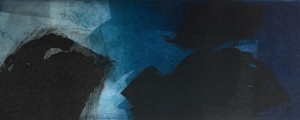 Marie -Clémentine Marès - graveur /plasticienne - Aquatinte imprimée sur chine appliquée et marouflée sur BFK Rives 40x50cm -  format gravure 16X40cm -    Tirage unique - d'ilots en archipels II.