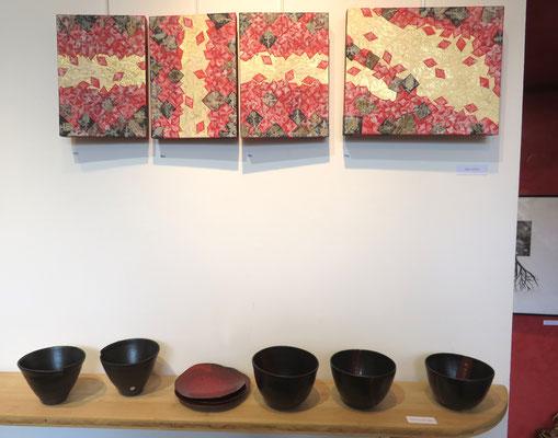 Alain guillon / 4 tableaux - sur l'étagere , céramiques de Sophie Gallé - Soas