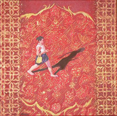 """Mehrzad Najand - marche à l'oriental """"  peinture acrylique - 30x30cm"""