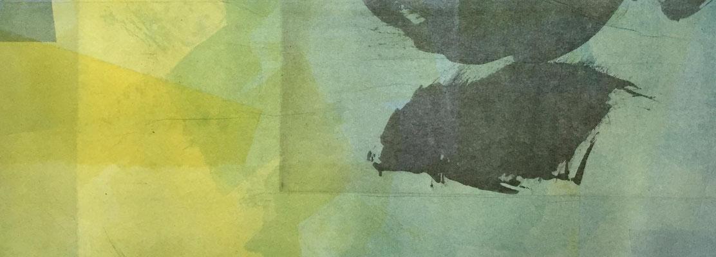 Marie -Clémentine Marès - graveur /plasticienne - Aquatinte imprimée sur chine appliquée et marouflée sur BFK Rives 40x50cm -  format gravure 16X40cm -    Tirage unique - Dans les plis du vent