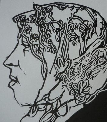 Rosario Arcos Gomez - linogravure - Femmesde Ramallah -