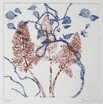 Isabelle Dansin- gravure - Dans le vent - 15x15cm