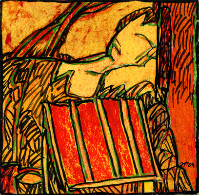 Jean-Pierre Plundr - vignette DC- gouache sur papier - 9x9 cm - 2004