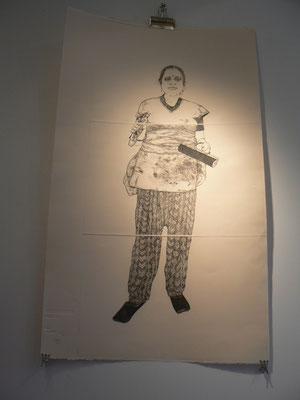 Christine Gendre-Bergère - gravures - Anju et sa tenue de travail