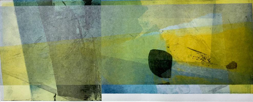 Vendu -Marie -Clémentine Marès - graveur /plasticienne - Aquatinte imprimée sur chine appliquée et marouflée sur BFK Rives 40x50cm -  format gravure 16X40cm -    Tirage unique - Que notre passage ici danse légèrement