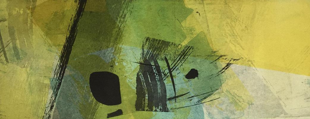 Marie -Clémentine Marès - graveur /plasticienne - Aquatinte imprimée sur chine appliquée et marouflée sur BFK Rives 40x50cm -  format gravure 16X40cm -    Tirage unique - que notre passage ici danse légèrement II