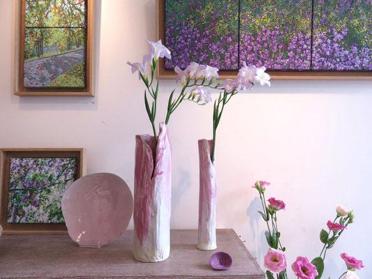 Sophie Gallé-Soas - Vases en porcelaine ou en grès - Peintures de Françoise Trotabas