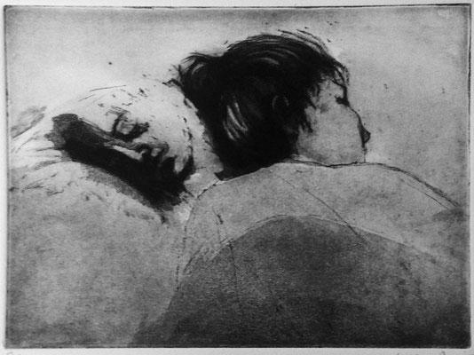 Maria Ahmadi - gravure - sieste 3   - 30x40cm -2014