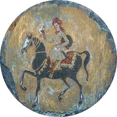 """Mehrzad Najand -"""" balade sur miniature """" peinture acrylique et gravure sur ardoise - 10cm de diamètre"""