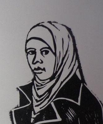 Rosario Arcos Gomez - linogravure -  Grabado, Femme de Ramallah -