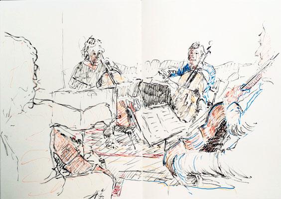 """Laurent Besson  - croquis feutres Posca - """" Quatuor de violoncelle Juin """""""