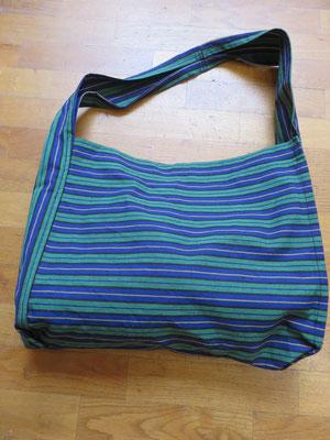 Hava Niknam- Fil de Coton Sac-  tissus rayure vert et bleu