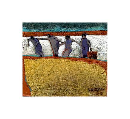 Soheila Niknam - Le voyage  - acrylique sur carton de bois -  9,5x8,3cm - 2015
