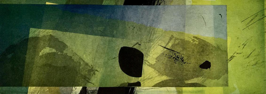 Vendu -Marie -Clémentine Marès - graveur /plasticienne - Aquatinte imprimée sur chine appliquée et marouflée sur BFK Rives 40x50cm -  format gravure 16X40cm -    Tirage unique -que notre passage ici danse légèrement IV