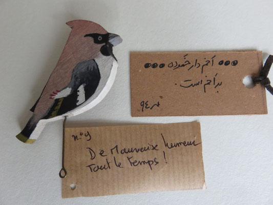 Shahzad HAERI - broche oiseau sur bois