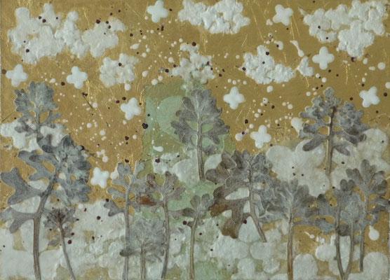 Alain Guillon - Petit voyage éthéré  n°23- 16x23cm -Papier de soie -papier japonais - pigment colorés- végétaux séchés- poudre de marbre - feuille de cuivre dorée- vernis