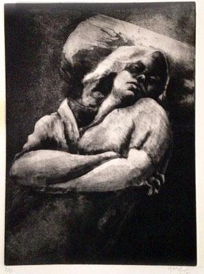 Maria Ahmadi - gravure - sieste   - 40x50cm -2015