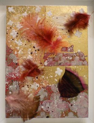"""Alain Guillon - plasticien-  """"le rouge gorge est passé par ici et repassera par la """"- 22 x 16 cm feuilles de cuivre, papiers de soie,tampons indiens, poudre de marbre, pigments rouge , plumes -"""