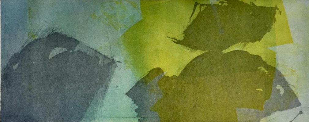 Marie -Clémentine Marès - graveur /plasticienne - Aquatinte imprimée sur chine appliquée et marouflée sur BFK Rives 40x50cm -  format gravure 16X40cm -    Tirage unique - de la tendresse de l'air et de la lumière II