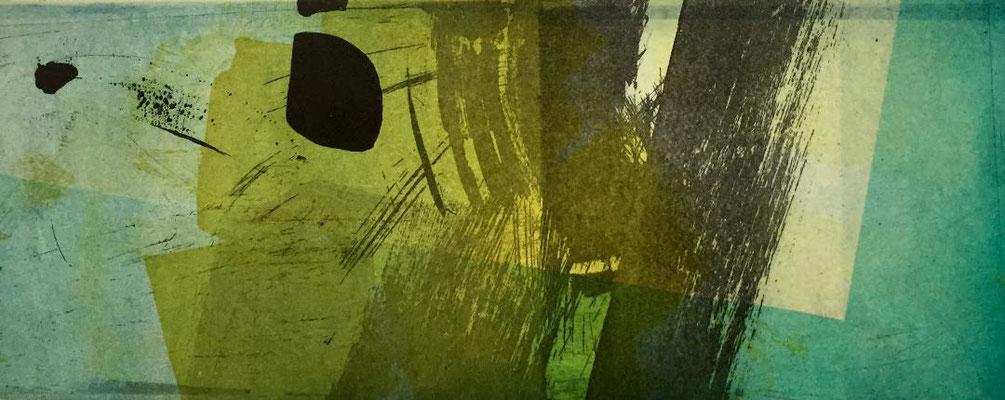 Marie -Clémentine Marès - graveur /plasticienne - Aquatinte imprimée sur chine appliquée et marouflée sur BFK Rives 40x50cm -  format gravure 16X40cm -    Tirage unique - que notre passage ici danse légèrement III.