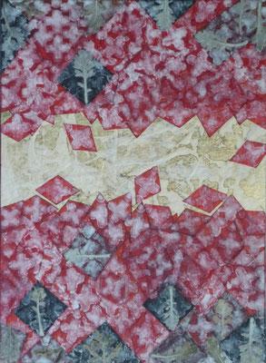 Alain Guillon - Mer Rouge, Terre Noire - n°3 22x16cm - 2017 - Technique mixte : feuille de cuivre doré, papiers de soie blanc et colorés, poudre de marbre, végétaux séchés , immortelles, vernis