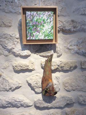 """En haut, peinture acrylique """" les lilas """" En bas, peinture sur écorce d'eucalyptus """" le rougegorge """"de Françoise TROTABAS"""