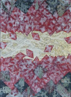 Alain Guillon - Mer Rouge, Terre Noire - n°1 22x16cm - 2017 - Technique mixte : feuille de cuivre doré, papiers de soie blanc et colorés, poudre de marbre, végétaux séchés , immortelles, vernis