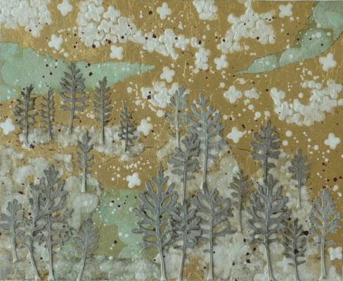 Alain Guillon - Petit voyage éthéré  n°20-  22x27cm - Papier de soie - papier japonais - pigment colorés- végétaux séchés- poudre de marbre - feuille de cuivre dorée- vernis