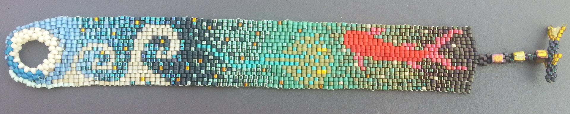 Florence Tissot- bracelet vague,raie poisson   - perle de verre -
