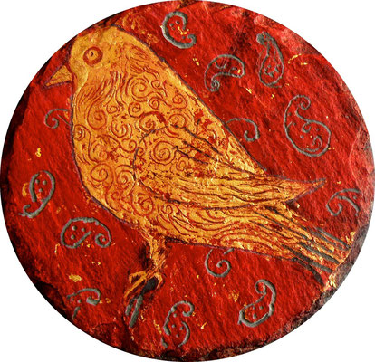 "Mehrzad Najand -  ""oiseau""  acrylique sur ardoise -"