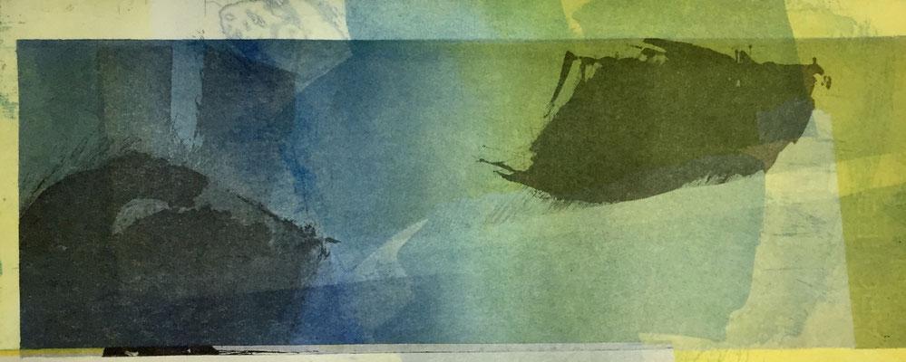 Marie -Clémentine Marès - graveur /plasticienne - Aquatinte imprimée sur chine appliquée et marouflée sur BFK Rives 40x50cm -  format gravure 16X40cm -    Tirage unique - dans les plis du vent I