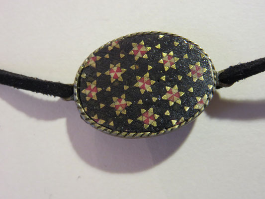 Bracelet Khatam -sur laiton - lacet daim