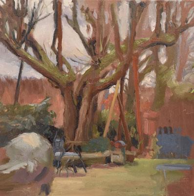 Delphine germain - L'arbre du jardin de Boubounelle- Huile sur toile -40x40cm-  2018